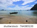 a wooden boat on beach in coron ... | Shutterstock . vector #764385133