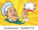 chef points his finger gesture. ... | Shutterstock . vector #764387773
