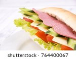 sandwich with ham and cheese... | Shutterstock . vector #764400067