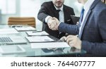 handshake of two lawyers after ... | Shutterstock . vector #764407777