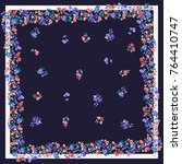 unusual scarf floral print.... | Shutterstock .eps vector #764410747