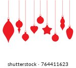 hanging hristmas ornaments flat ... | Shutterstock .eps vector #764411623