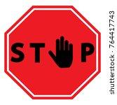 stop sign. vector. | Shutterstock .eps vector #764417743
