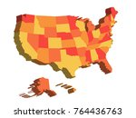 3d map of united states of... | Shutterstock .eps vector #764436763