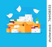 pile of paper documents and... | Shutterstock .eps vector #764438533