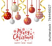 christmas greeting card with... | Shutterstock .eps vector #764440027