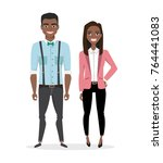 a couple of young black african ... | Shutterstock .eps vector #764441083