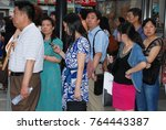 8th of june 2011   people lined ... | Shutterstock . vector #764443387