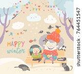 grandma and granddaughter... | Shutterstock .eps vector #764451547