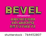 beveled typography design vector | Shutterstock .eps vector #764452807