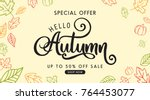 autumn sale background layout... | Shutterstock .eps vector #764453077