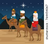 the three magic kings of orient ... | Shutterstock .eps vector #764454067