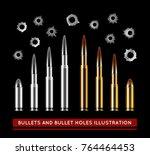 bullets and bullet holes....   Shutterstock .eps vector #764464453