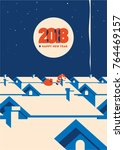 new year 2018 minimalistic... | Shutterstock .eps vector #764469157