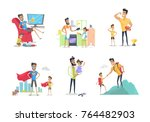 father and son or daughter... | Shutterstock . vector #764482903