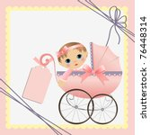 cute template for baby arrival... | Shutterstock .eps vector #76448314