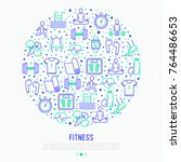 fitness concept in circle with... | Shutterstock .eps vector #764486653