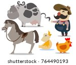 happy farmer   old macdonald... | Shutterstock .eps vector #764490193