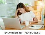 beautiful women owner business... | Shutterstock . vector #764504653
