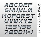 metal techno font vector. | Shutterstock .eps vector #764508493