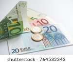 euro banknotes and coins on... | Shutterstock . vector #764532343
