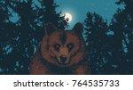 wild bear against the backdrop... | Shutterstock .eps vector #764535733