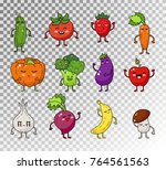 colored doodle set of fruits... | Shutterstock .eps vector #764561563