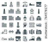set of 36 city filled and... | Shutterstock .eps vector #764578177