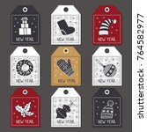 set of labels for christmas ... | Shutterstock .eps vector #764582977