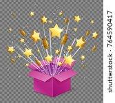 unboxing present gift surprise... | Shutterstock .eps vector #764590417