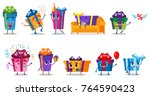 set of holiday gift boxes... | Shutterstock .eps vector #764590423