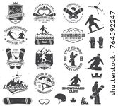 set of snowboard club insignia... | Shutterstock .eps vector #764592247