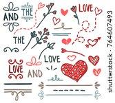 hand drawn love set  vector | Shutterstock .eps vector #764607493