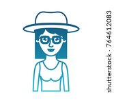 woman half body with hat and... | Shutterstock .eps vector #764612083