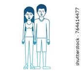 couple in degraded blue... | Shutterstock .eps vector #764614477