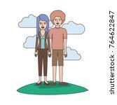 couple colorful scene outdoor... | Shutterstock .eps vector #764622847