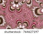 pink fractal art background  3d ... | Shutterstock . vector #764627197