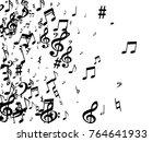 black musical notes flying... | Shutterstock .eps vector #764641933