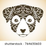 ornamental decorative puppy... | Shutterstock .eps vector #764650603
