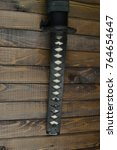 Small photo of Japanese katana sword with ray skin handle, samurai weapon