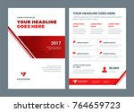 red brochure annual report... | Shutterstock .eps vector #764659723