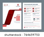 red brochure annual report... | Shutterstock .eps vector #764659753