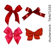 set of realistic red bows.... | Shutterstock .eps vector #764671333