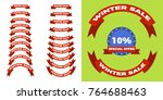 christmas and winter sale retro ... | Shutterstock .eps vector #764688463