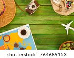 travel  concept  over wooden... | Shutterstock . vector #764689153