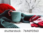 winter background   cup with... | Shutterstock . vector #764693563