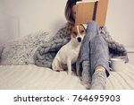 woman in cozy home clothes... | Shutterstock . vector #764695903