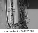 wiring box telephone line black ... | Shutterstock . vector #764709007