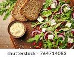 wooden board with fresh tasty... | Shutterstock . vector #764714083