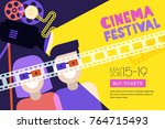 movie time  date at the cinema... | Shutterstock .eps vector #764715493